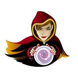 Vector image of fortune teller with crystal ball. Vector image of a fortune teller in a Burgundy cloak with a crystal ball on a white background Royalty Free Stock Photography