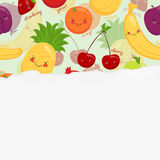 Vector image of funny muzzles fruit, juice Stock Photography