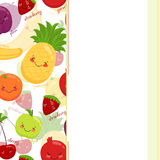 Vector image of funny muzzles fruits, vitamins Stock Images