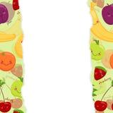 Vector image of funny muzzles fruits, vitamins Stock Photos