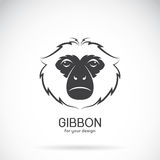 Vector image of a gibbon head design on white background, Vector Royalty Free Stock Image