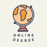 Vector image of globe with text online degree Stock Images