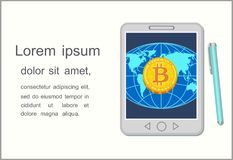 Concept of world online currency bitcoin on tablet screen. Vector. Vector image of golden bitcoin on screen of tablet PC on blue background of world model Stock Photos