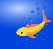 The vector image of a goldfish. The  image of a goldfish against blue water and air vials Stock Photo