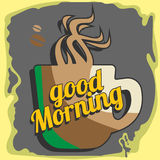 Vector image good morning. With coffee icon Royalty Free Stock Photo