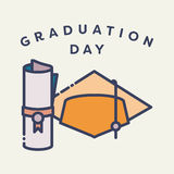 Vector image of graduation cap and degree with text graduation day Stock Image