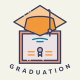 Vector image of graduation cap and degree with text graduation day Royalty Free Stock Photography
