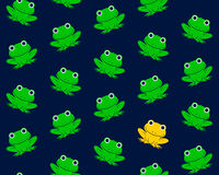 Vector image of green frogs with one in gold colored Stock Photography