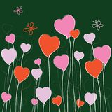 Vector image of growthing stylized floral hearts. Vector greeting card of stylized floral hearts and flying butterflies stock illustration