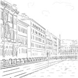 Vector image of hand-drawn black-and-white drawing of the waterfront buildings in the historic center of St. Petersburg. Stock Image