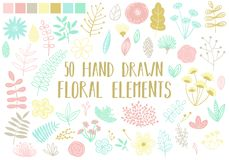 Vector image of hand-drawn floral elements on a light background. Cartoon illustration of a set of isolated flowers, leaves and bl stock illustration