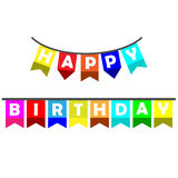 Vector image happy birthday with flag. Ornament Royalty Free Stock Photo