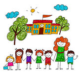 Vector image of happy children with teacher Stock Photography
