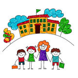 Vector image of happy children with teacher. Royalty Free Stock Photo
