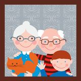 Portrait of the grandparents with their grandson. Vector image of the happy elderly spouses with their grandson Royalty Free Stock Photography