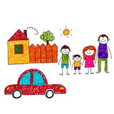 Vector image of happy family with car and house Stock Image