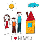 Vector image of happy family with house Stock Images