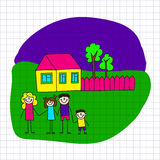 Vector image of happy family. Notebook paper. Royalty Free Stock Photo