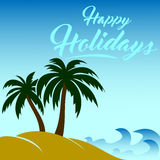 Vector image happy holidays. With Backgrounds Beach Royalty Free Stock Photo