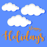 Vector image happy holidays with cloud. Ornament Stock Images