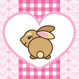 Cute baby girl rabbit in pink heart Stock Photography