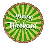 Vector image happy weekend. For background. Vintage style Stock Image