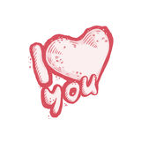 The vector image of the heart as a declaration love on white background. Romantic postcard confession. The vector image of the heart as a declaration of love on Royalty Free Stock Photo