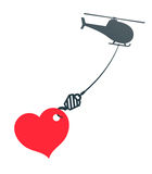 Vector image of heart hanging from helicopter Royalty Free Stock Images