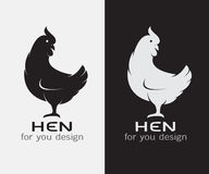 Vector image of an hen. On white background and black background stock illustration