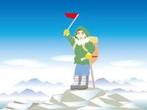 Snow mountain climbing - Winter sports scene royalty free illustration