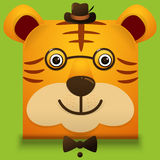 Vector image of a hipster cute face of big cat. square style  Stock Images