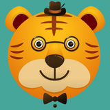 Vector image of a hipster cute face of big cat Royalty Free Stock Photography