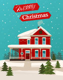 Vector Image of Holiday Christmas House Royalty Free Stock Photos