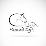 Vector image of horse and dog. On white background stock illustration