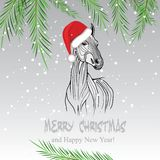 Vector image of an horse. Horse merry Christmas card 2014 year chinese symbol vector illustration image tattoo design Royalty Free Stock Photos