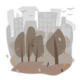 Vector image with houses and trees in autumn Stock Image