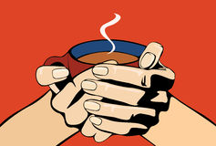 Vector image of human arms holding coffee Stock Photo