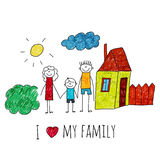 Vector image I love my family Stock Images