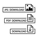 Vector image with icons for different file formats for downloading. Illustration of different file formats in black for downloading on white isolated background Royalty Free Stock Photo
