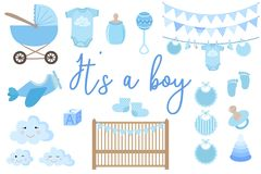 Vector image of an invitation card for baby shower. Set of items for greeting cards for a newborn boy. Illustration for a boy in b vector illustration