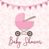 Vector image of an invitation card for a children`s holiday. Baby shower illustration for a girl on a pink background with a strol stock illustration