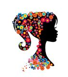 Girl portrait silhouette with flowers hairstyle looking. Vector image of isolated girl silhouette with flower hairstyle and big eyelashes royalty free illustration