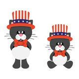 4 july cartoon cute black cat in hat set. Vector image of a 4 july cartoon cute black cat in hat set Royalty Free Stock Image