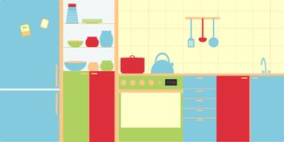 Vector image of kitchen interior in modern style. Simplicity and minimalism, bright colors. Royalty Free Stock Image
