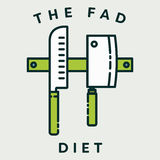 Vector image of knives with text the fad diet. Against white background Stock Photos