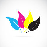 Vector image of an leaves in cmyk colors. On white background Stock Photos