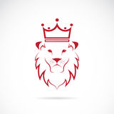 Vector image of an lion crowned. On white background Stock Images