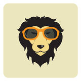 Vector image of lion wearing glasses. Stock Photos