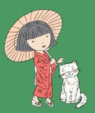 Vector image of a little girl in kimono with her cat. Vector illustration of a little japanese girl with her pet vector illustration