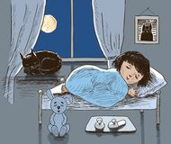 A little girl and her cat are sleeping Stock Images